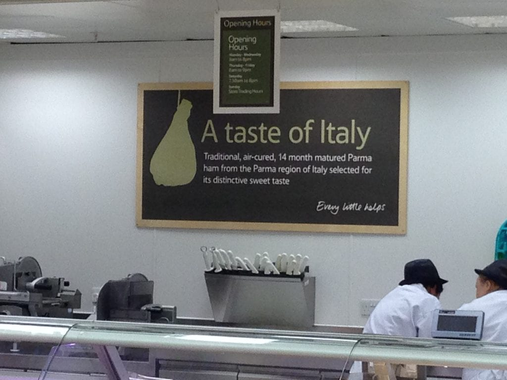 A billboard for Tesco Italy, with A Taste of Italy as the title