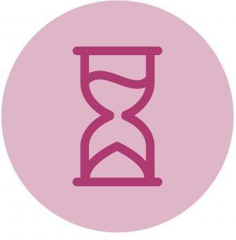 Purple sand timer icon on pink sticker