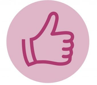 Purple thumbs up icon in a pink circle