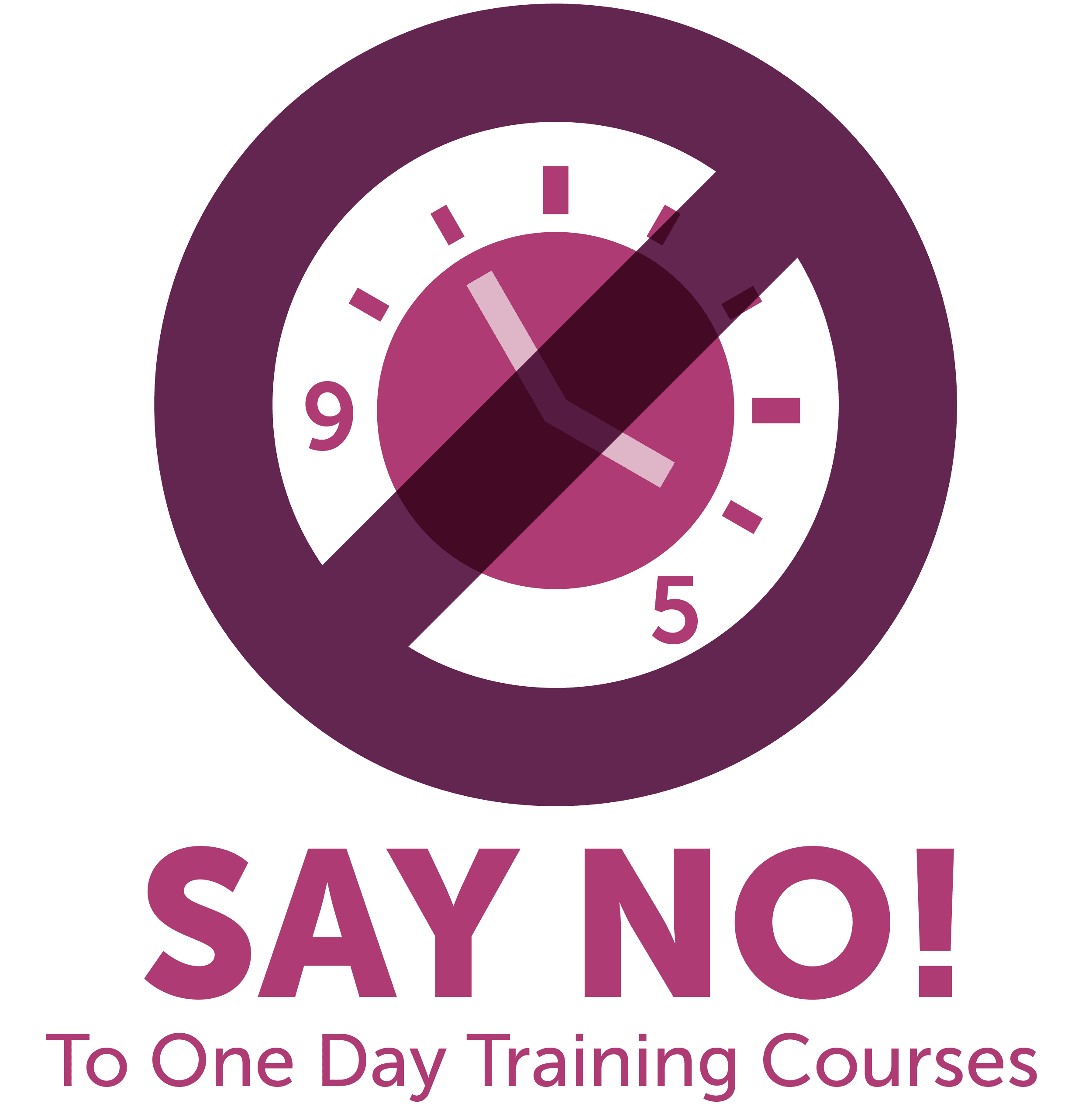 Cartoon clock with cross over it - Say No to one day training courses