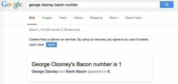Google Search of george clooney bacon number