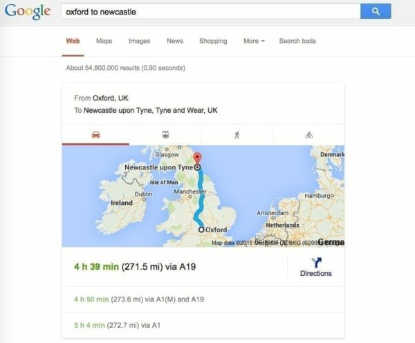 Screenshot of Google search for directions from Oxford to Newcastle