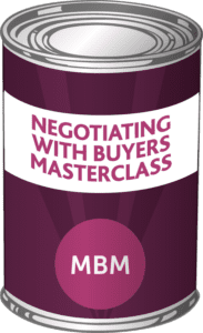 MBM Tin with the label 'Negotiating with Buyers Masterclass'