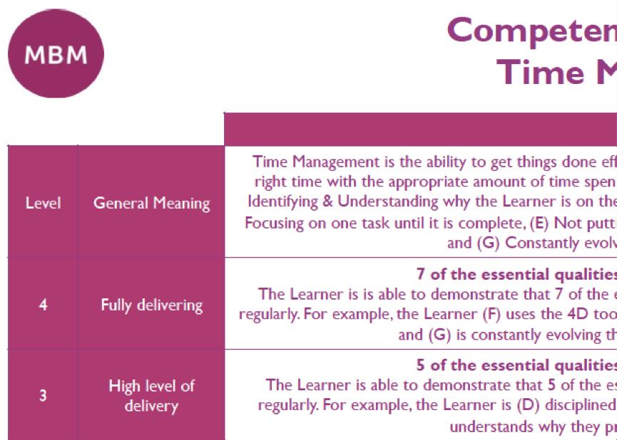 Competency Framework from MBM