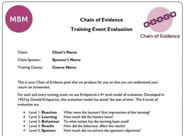Chain of Evidence - Training Event Evaluation by MBM Making Business Matter