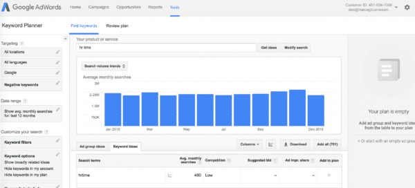 Screenshot of Google AdWords HRTime Search Results