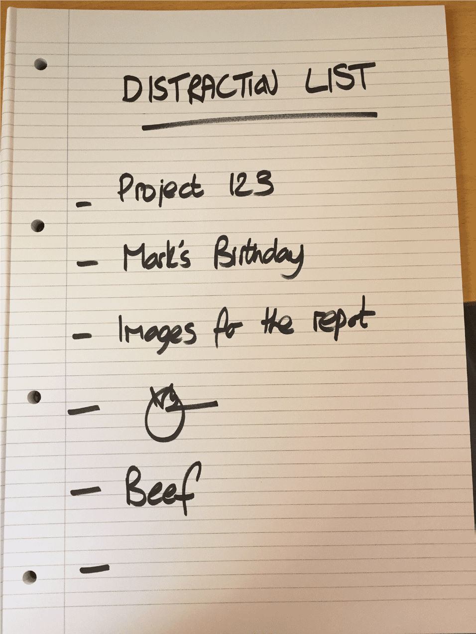Note of list of distractions on paper