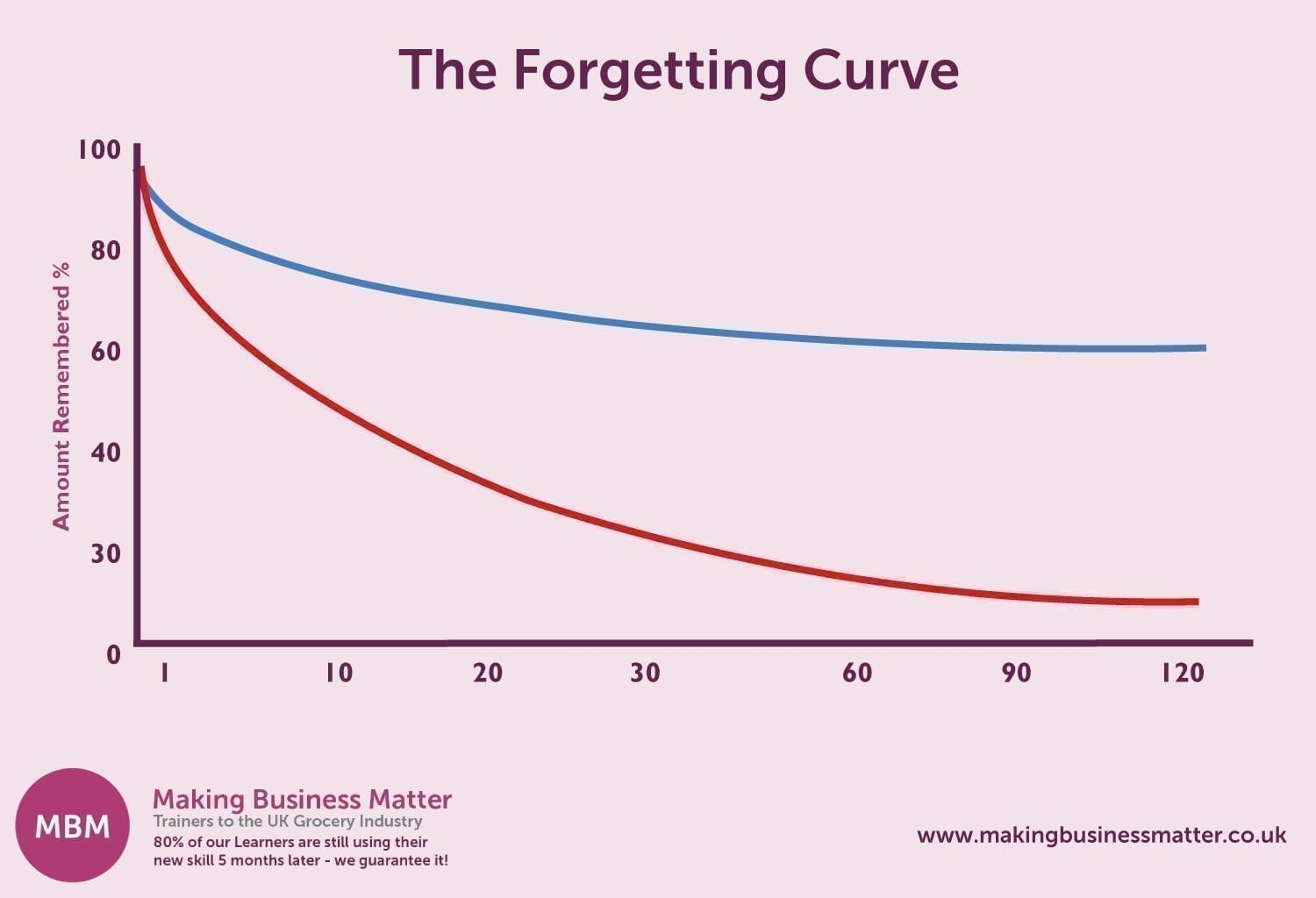 A graph with a red and blue line titles The Forgetting Curve