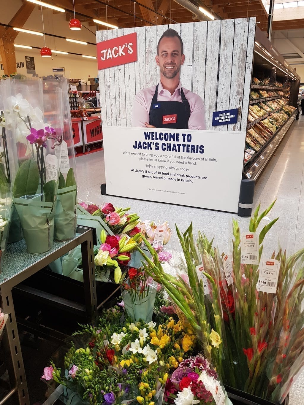 A Poster of Tesco Jack's in a grocery store