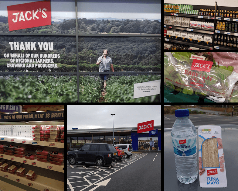 A collage of images showing different sections of Tesco Jacks
