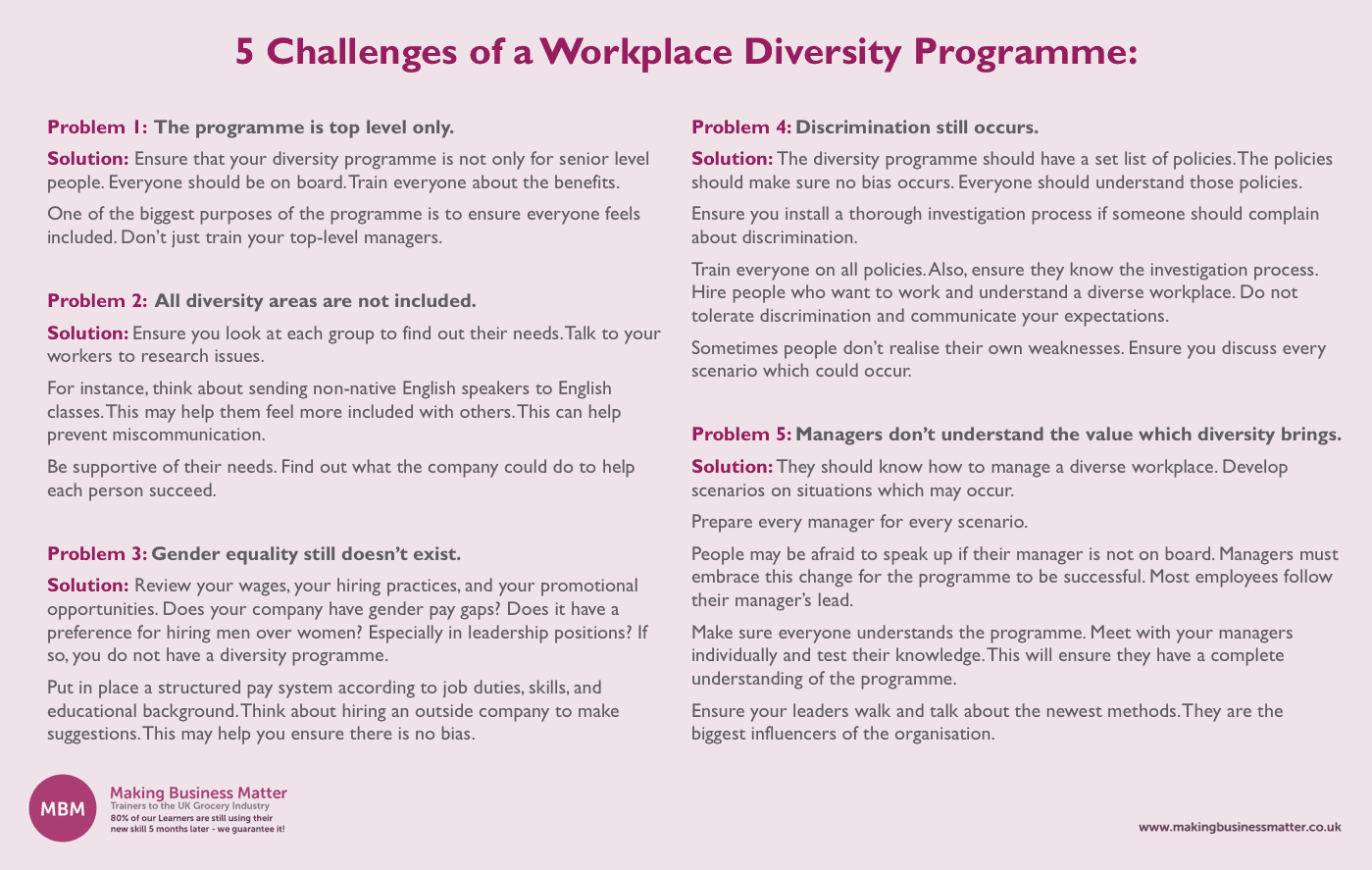 5 challenges of a workplace diversity programme