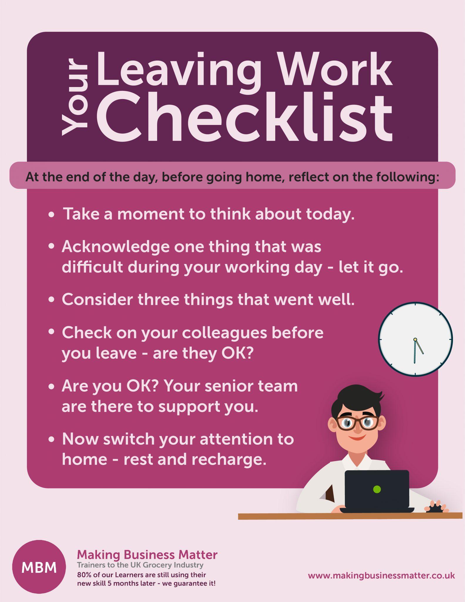 Leaving work checklist