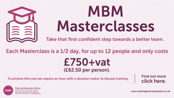 MBM banner advertising masterclasses with a learning icon in the corner