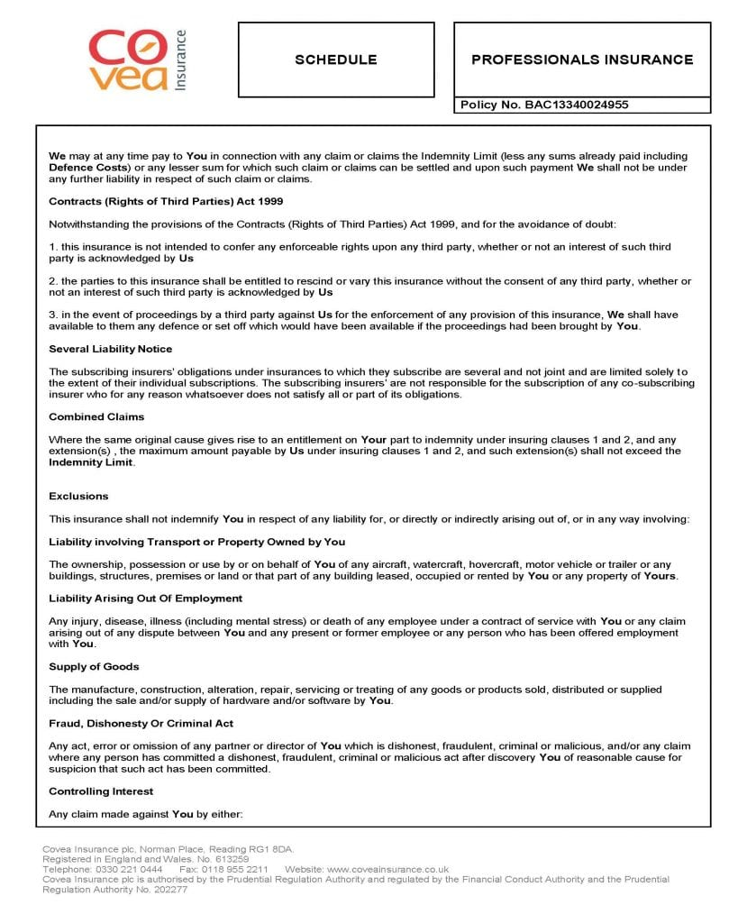 Covea Professional Insurance for MBM