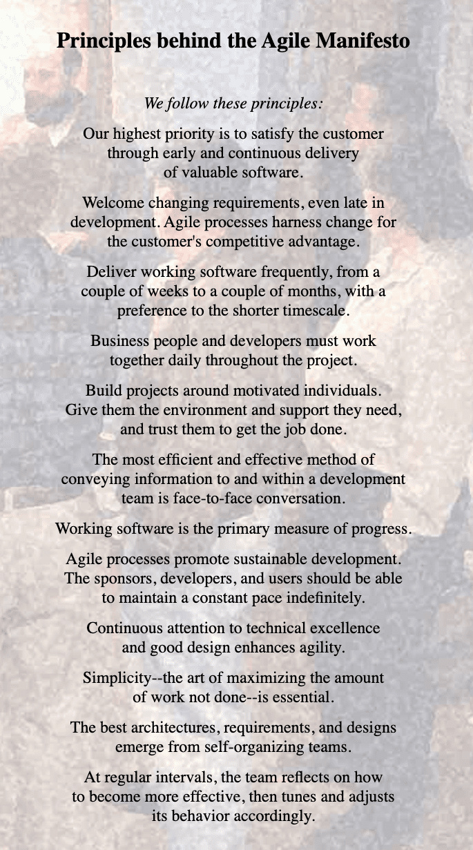 The 12 Principles of Agile Manifesto