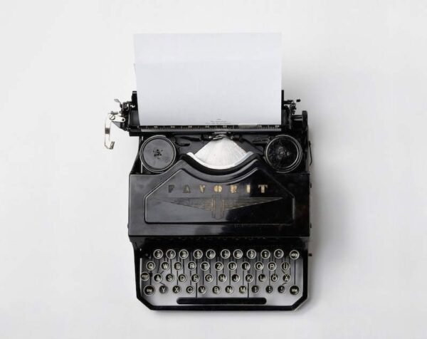 Top view of a classic typewriter
