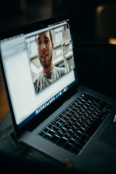 Video call on a laptop