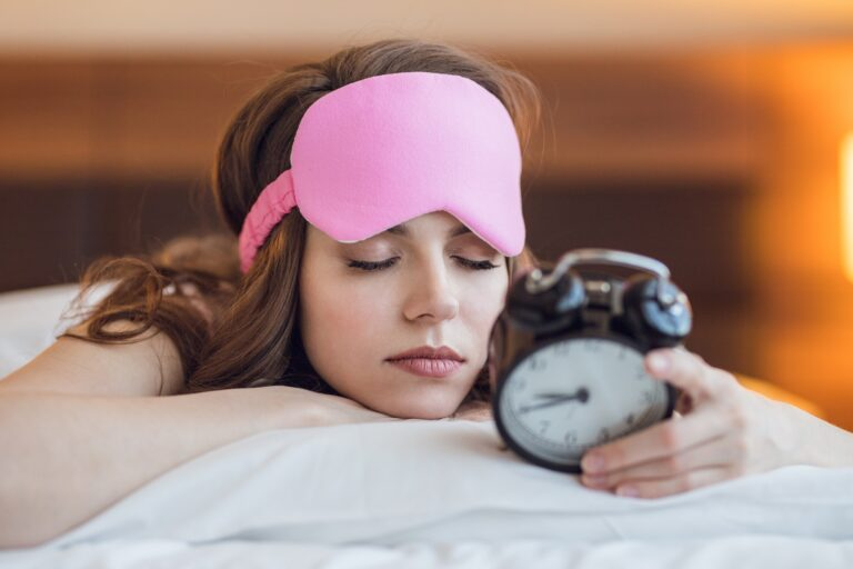 Sleeping girl with a clock, time management, teamwork skills