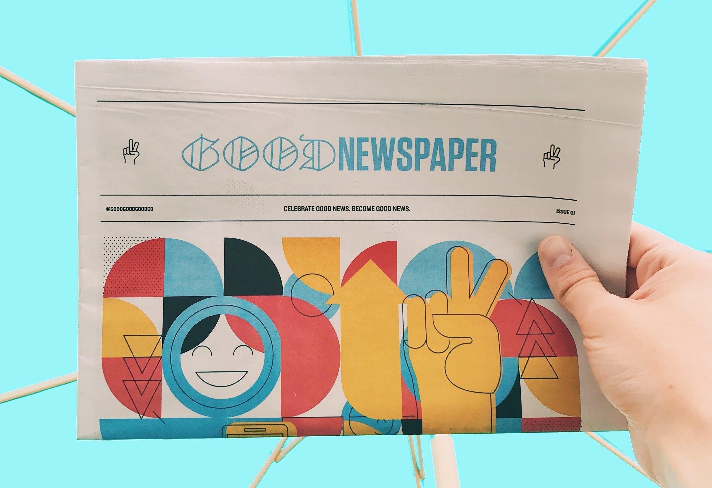 newspaper, good news only, team spirit