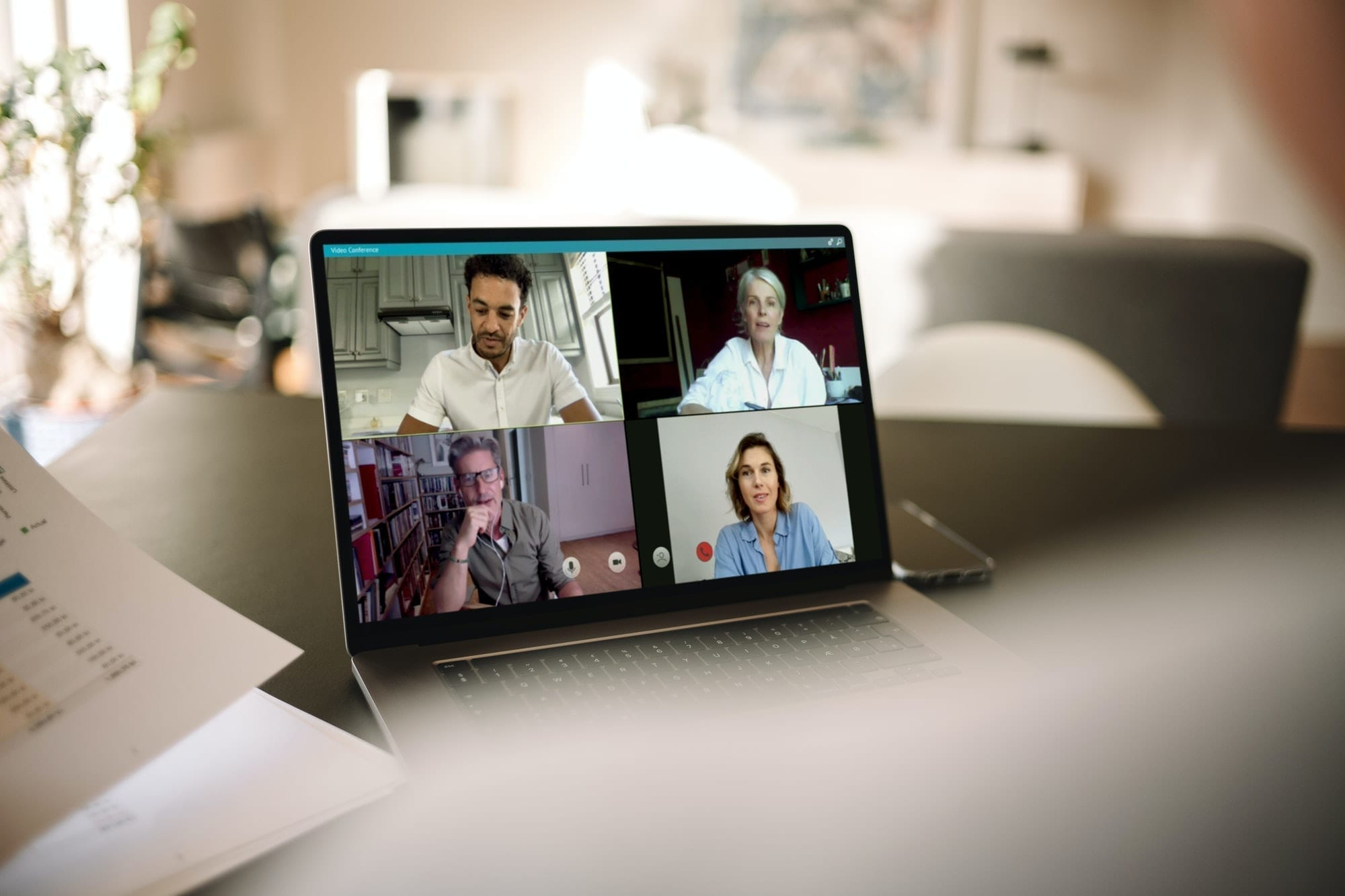 Online meeting via video conference call, team spirit